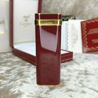 Rare Vintage Authentic Cartier Lighter Bordeaux Lacquer Gold Plated w/Box&Papers