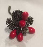 Vintage Christmas Holiday Decorations Trim Red Berries & Tiny Pinecones (17ea)