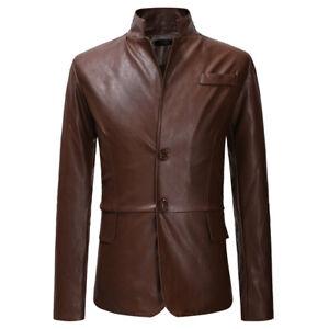 New Men's Genuine Man-Made Lambskin Motorcycle Leather Jacket Biker Slim Jacket