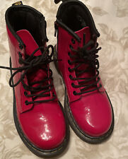 Dr. Martens Kid's Red Glossy Leather Delaney Boots Size Us 13