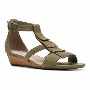 BNIB Clarks Ladies Abigail Sun Khaki Suede Wedged Sandals