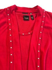 Womens Cardigan and Shell Set Rafaella Size S Red Silver Studs Holiday Excellent