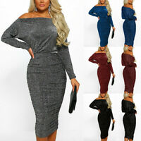 Women Sparkly Long Sleeve Off Shoulder Evening Party Club Ruched Bodycon Dress