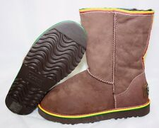 NEW Womens Sz 10 AUSTRALIA LUXE Love Chocolate Brown Short Rainbow Stripe Boots