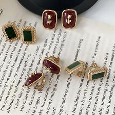 Red Rose Studs Earrings Vintage Earrings Square Earrings accessories GIFT