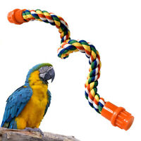 40/55/80cm Pet Bird Parrots Stand Cotton Rope Bar Hanging Cage Climbing Chew Toy