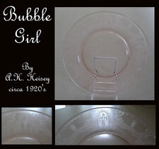 HEISEY BUBBLE GIRL PINK ETCHED DEPRESSION GLASS PLATE