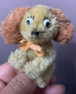 """Schuco Mascot Jointed Vintage Miniature Mohair Lady Puppy Dog 3"""" Buy Now NR"""