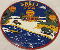 VINTAGE SHELL 400 EXTRA GASOLINE PORCELAIN SIGN GAS STATION PUMP PLATE MOTOR OIL