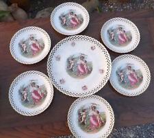 Servizio porcellana da dolce tedesca Schumann 7 pezzi, decorato, bordo lavorato