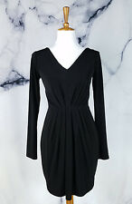 Bobi Black Womens Dress Size Small Black Long Sleeve Pleated Cocktail Fitted