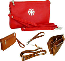 Large Red Clutch Bag Multi Compartment Cross Body Long Shoulder Strap Wristlet