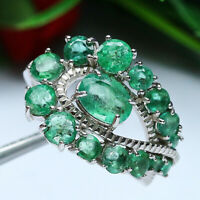 NATURAL GREEN EMERALD RING 925 STERLING SILVER SZ 7