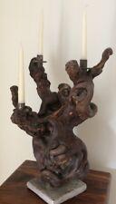Unique Vintage Rustic Wooden Candle Holder Candlestick Candelabra