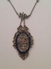 Beautiful Fine Edwardian Sterling Silver & Paste Set Pendant Necklace