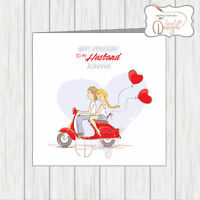 Personalised Anniversary Card Scooter Scooterist Husband Wife Girlfriend MOD