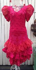 FLAMENCO Competition Ballroom Latin Spanish Dancer Show Dance Dress Hot Pink Vtg