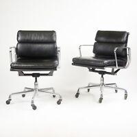 C. 2001 Eames Herman Miller Soft Pad Aluminum Group Desk Chair Black Leather 10+