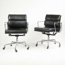 1999 Eames Herman Miller Soft Pad Aluminum Group Desk Chair Black Leather 9x