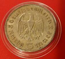 La Germania nazista 5 Marco 1936 A .900 SILVER MONETA PROT CAPS 462