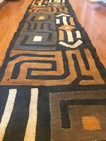 genuine 13 feet African (Congo) Kuba Raffia cloth fabric, natural woven handmade