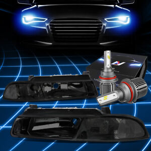 Fit 1995-2000 Chrysler Cirrus Headlight Lamps w/LED Kit+Cool Fan Smoked/Clear
