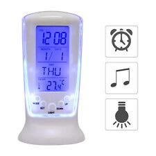Digital Backlight LED Display Table E Alarm Clock Snooze Thermometer Calendar WT