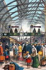 McLoughlin Bros. 1903 TRAIN STATION Victorian Travelers w Luggage Matted Print