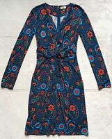 Issa London Women's Paisley 100% Silk Dress, Sz 2, Navy Blue, Long Sleeves EUC