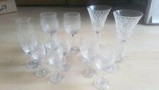 Set of 13 Assorted Etched Crystal Stemmed Drinking Glasses