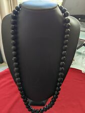 BLACK ONYX FACETED GENUINE UNTREATED LARGE BEADS NECKLACE EXCEPTIONAL QUALITY