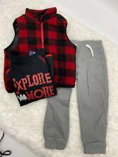 Little Rebels Plaid red, black, gray - vest, shirt, pants 3 piece set NEW