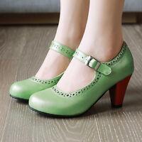 Women's Mary Jane Cute Sweet Lolita Buckle Chunky Heel Ankle Strap Pumps Shoes