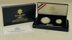 2002 2 coin Salt Lake Olympic proof set silver dollar & $5 gold half eagle 69056
