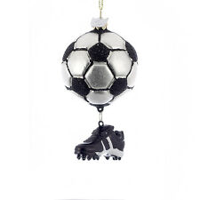 "NB0283 3.5"" Soccer Ball Shoe Dangle Glass Christmas Ornament Sport Summer Kids"