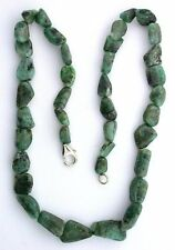 18 Inch Natural Polish Emerald Nugget Sterling Silver Clasp Necklace ECBS18