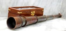 "Nautical Brass Telescope W/Wooden Box Astrolabe Ship Item In Copper Finish 18"" ."