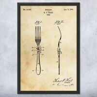 Framed Fork Print Kitchenware Art Culinary Gifts Kitchen Decor Chef Gift