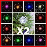 Set of 2 Solar Powered Sun Flower Garden Yard Stake Pathway Lawn Light LED Gift