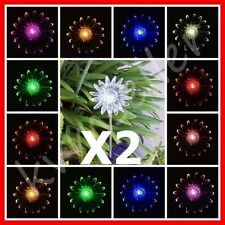 Set of 2 Solar Powered Sun Flower Garden Yard Stake Pathway Lawn Light LED Gift