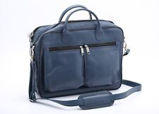 "Men's Navy Blue Original Cow Leather 15.6"" Laptop Bag/Satchel Bag/Messenger Bag"