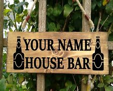 Personalised Wooden Bar House Name Plaque  Signs - Solid wood Porch Conservatory