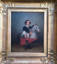 Julius Cornelius KIENLIN Huile portrait garçon cheval-jupon carnaval Jouet 1862
