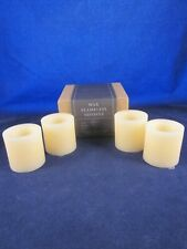 RESTORATION HARDWARE RH Set of 4 Wax Flameless Indoor Ivory Votive Candles ~ NEW