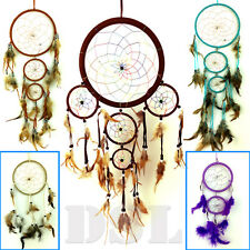 5 Ring Dream Catcher Nylon Feather Handmade American Indian Dreamcatcher UK