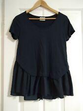 Seed Heritage Women's Blue Short Sleeve Plus Size Top Roud Neck Open Back