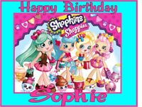 PERSONALISED SHOPKINS SHOPPIES BIRTHDAY CAKE TOPPER A4 ICING SHEET anyNAMEage