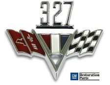 CHEVY 327 V-Flag Fender Emblem Set ** Chevy II, Chevelle, Camaro & Full Size