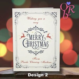 10 Deluxe Handmade Personalised Christmas Cards - Family- Business - 4 Designs