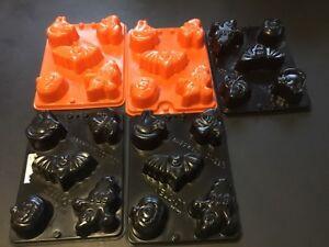 Jell-o Jigglers Molds Lot 5 Halloween Ghost Cat Bat Witch Pumpkin   #97/1